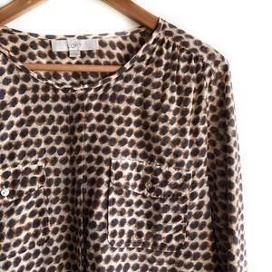 LOFT leopard print button down shirt